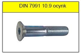 DIN 7991 stal klasy 10.9 ocynk