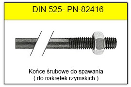 DIN 525 Końce śrubowe