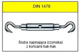 DIN 1478 - Końce hak-hak