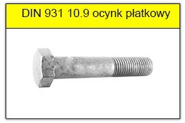 DIN 931 10.9 bez powłoki