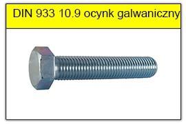 DIN 933 10.9 ocynk galwaniczny