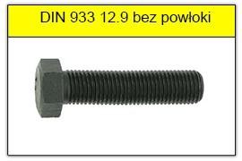 DIN 933 12.9 bez powłoki