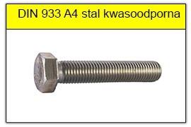 DIN 933 A4 stal kwasoodporna