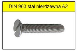 DIN 963 stal nierdzewna A2